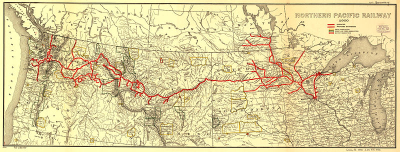 Northern Pacific Railroad map, circa 1900.